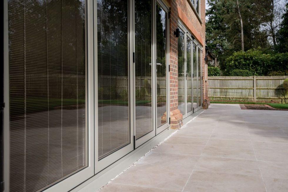 Large grey aluminium bifold door