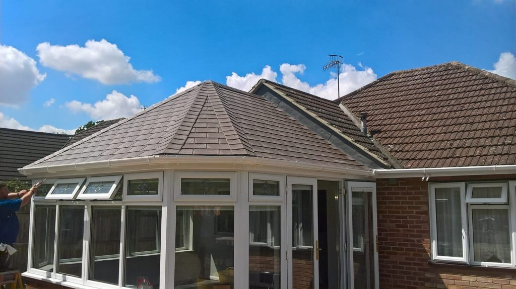 Brown tiled roof replacement (after)