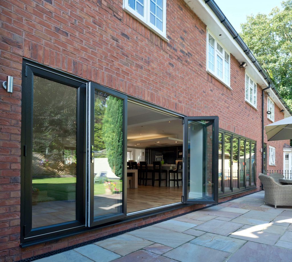 Large Eurocell black bifold doors