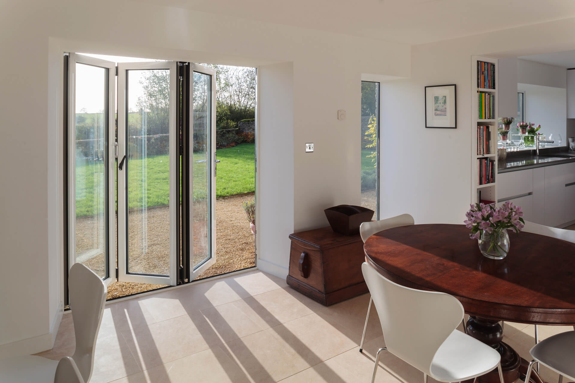 Small white bifold doors