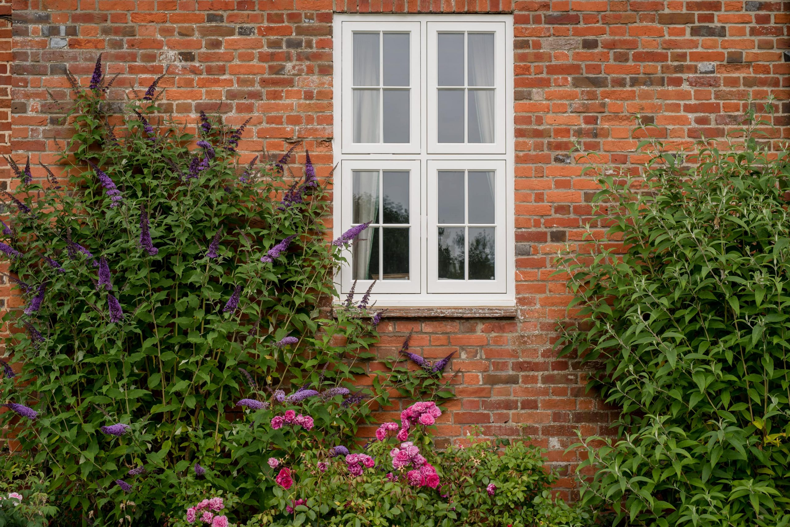 Small white casement window
