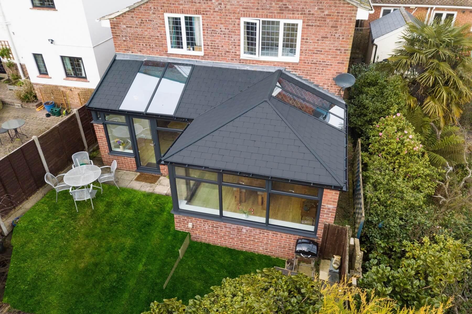 Ultraframe black tiled roof conservatory