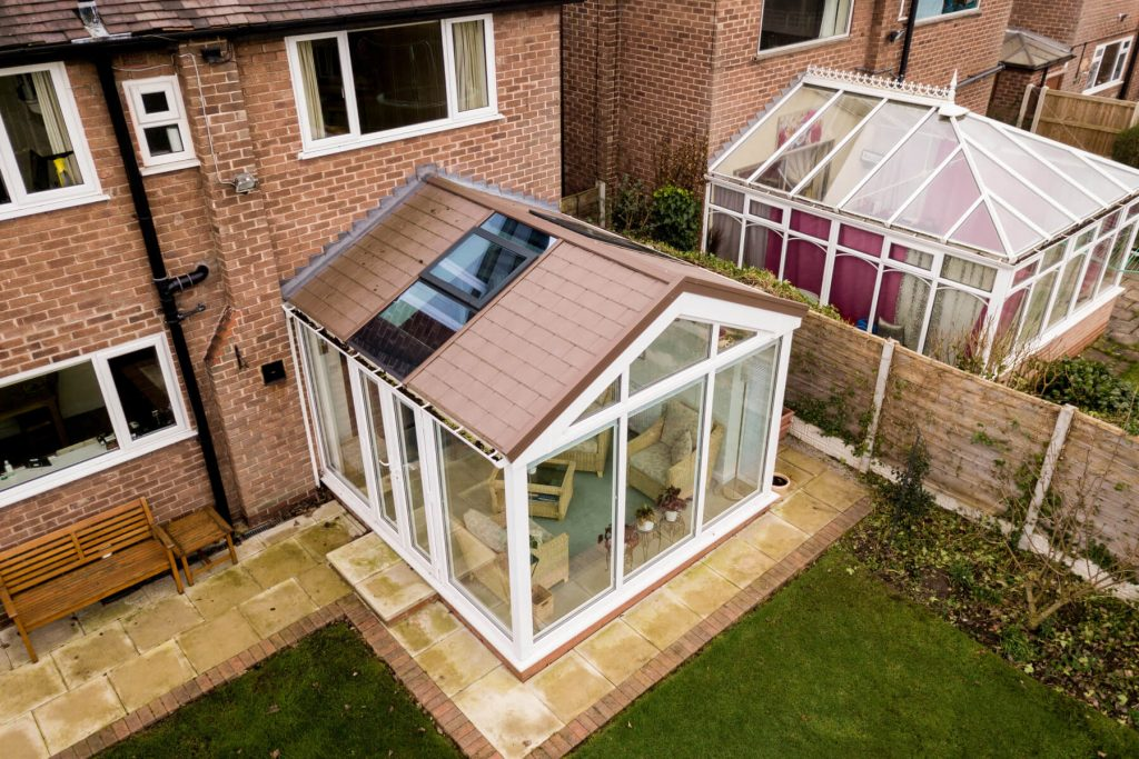 Ultraframe brown tiled roof conservatory