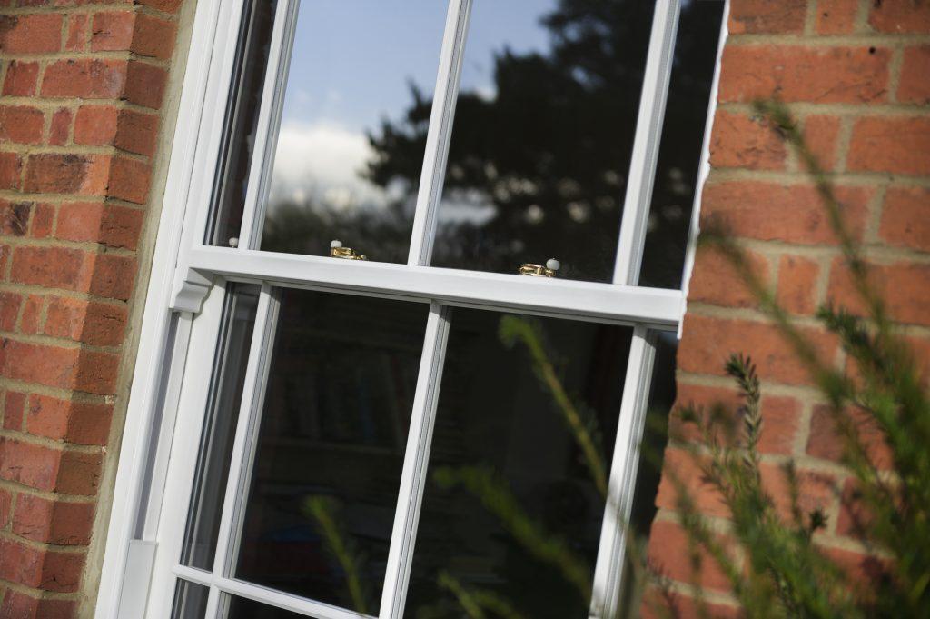 Close white sash window in Hampshire.