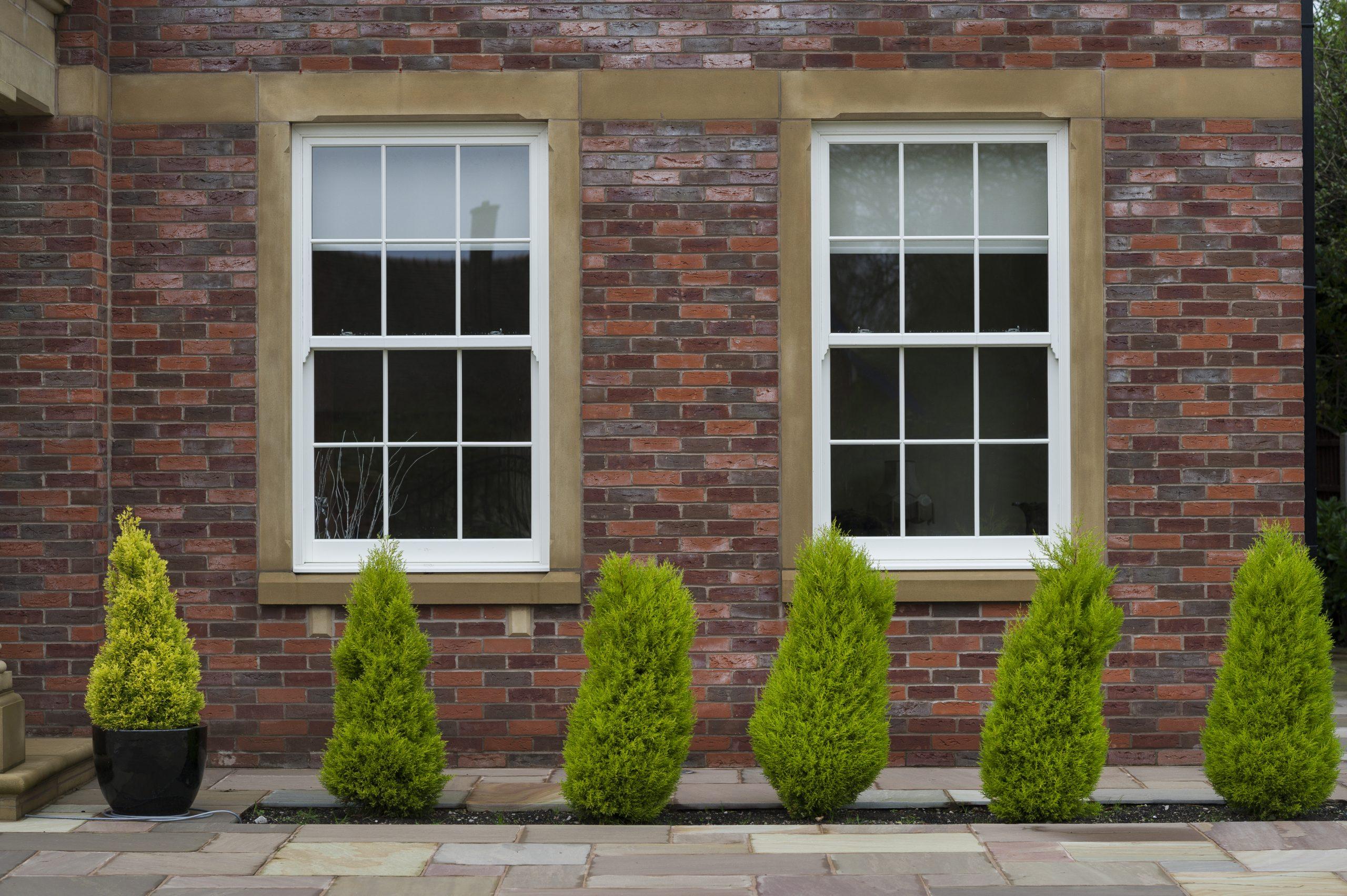 Two large heritage white sash windows.