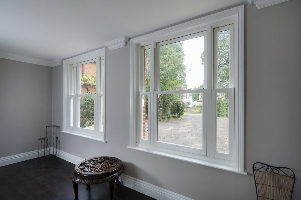 Inside a home with closed sash windows.